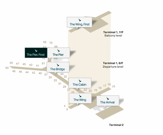 Map, Cathay Pacific The Pier First Class Lounge HKG