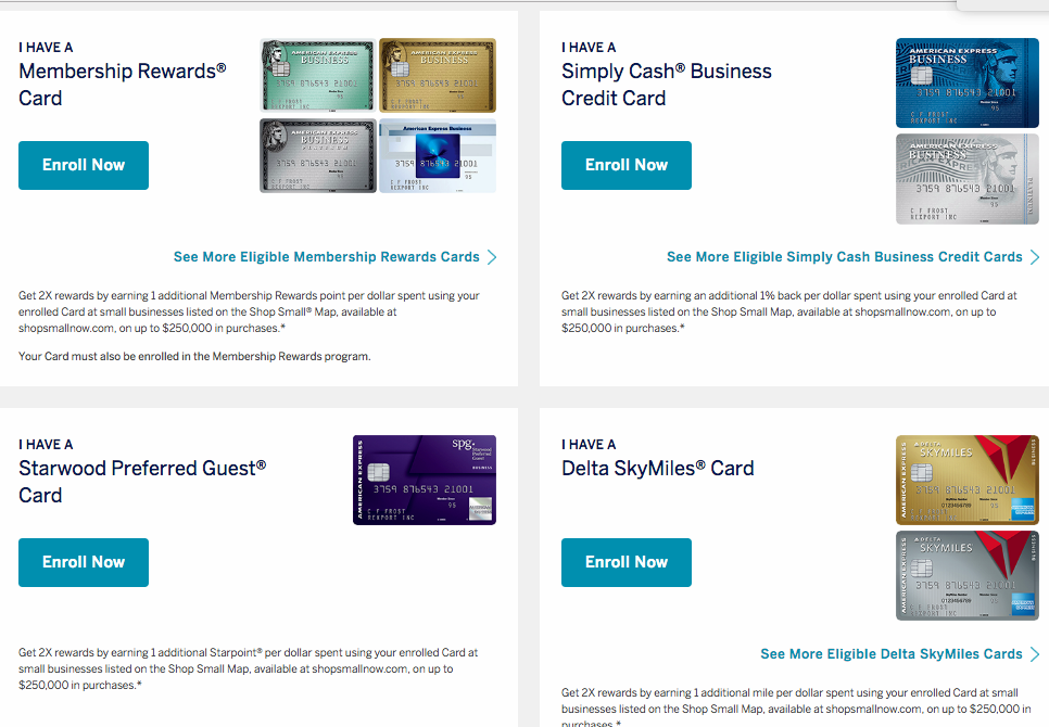 Enroll Your AMEX Card for 2X Points at Small Businesses