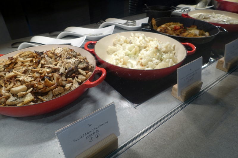 Mushrooms and Cauliflower, Cathay The Pier Business Class Lounge Review, HKG