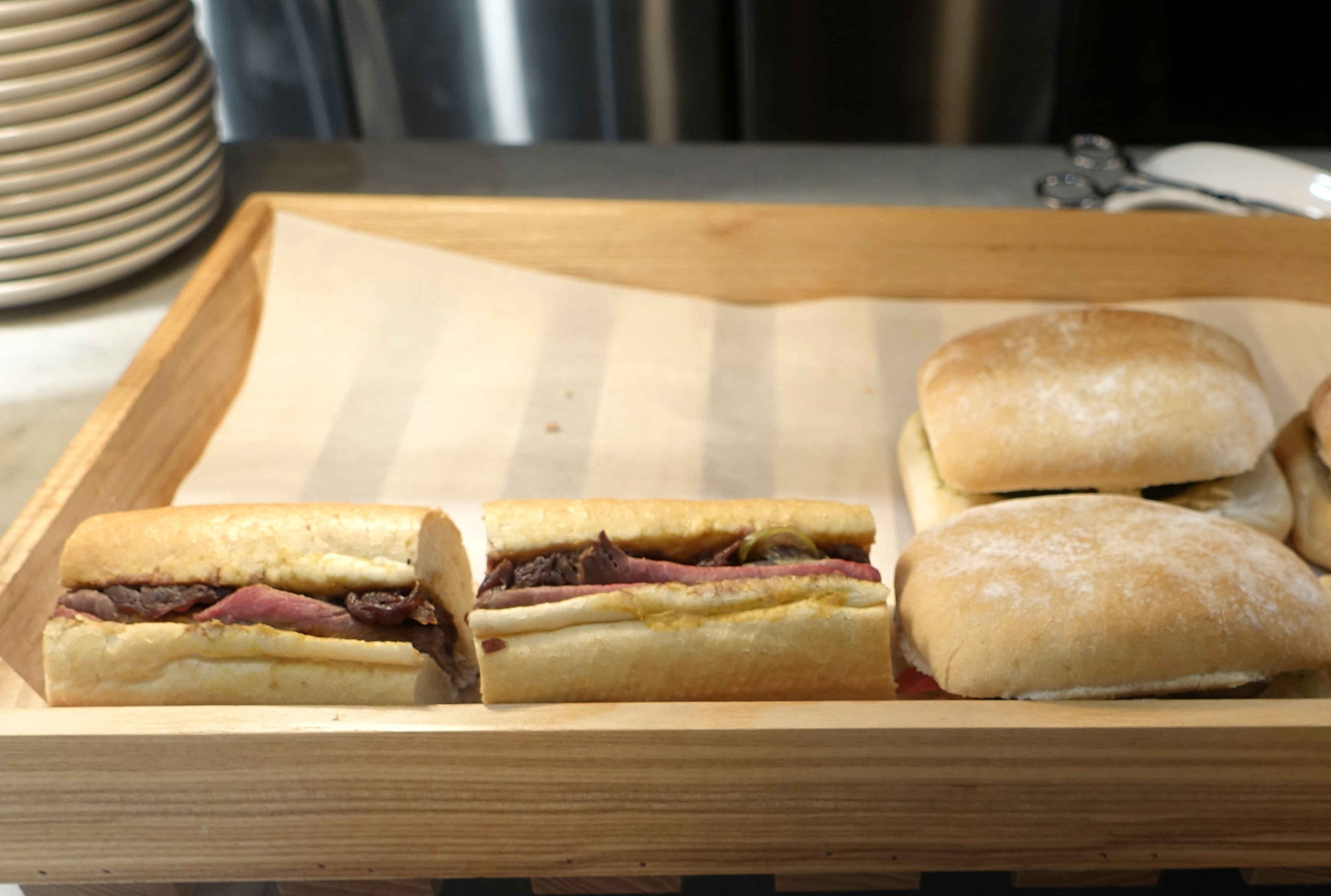 Pork and Onion Confit Sandwiches, The Pier Business Class Lounge Review, HKG