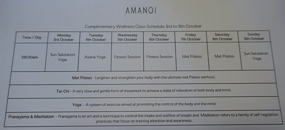 Yoga and Pilates Class Schedule, Amanoi