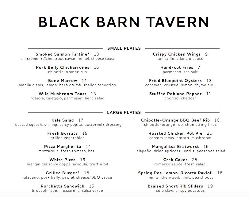 Black Barn Tavern Menu, NYC