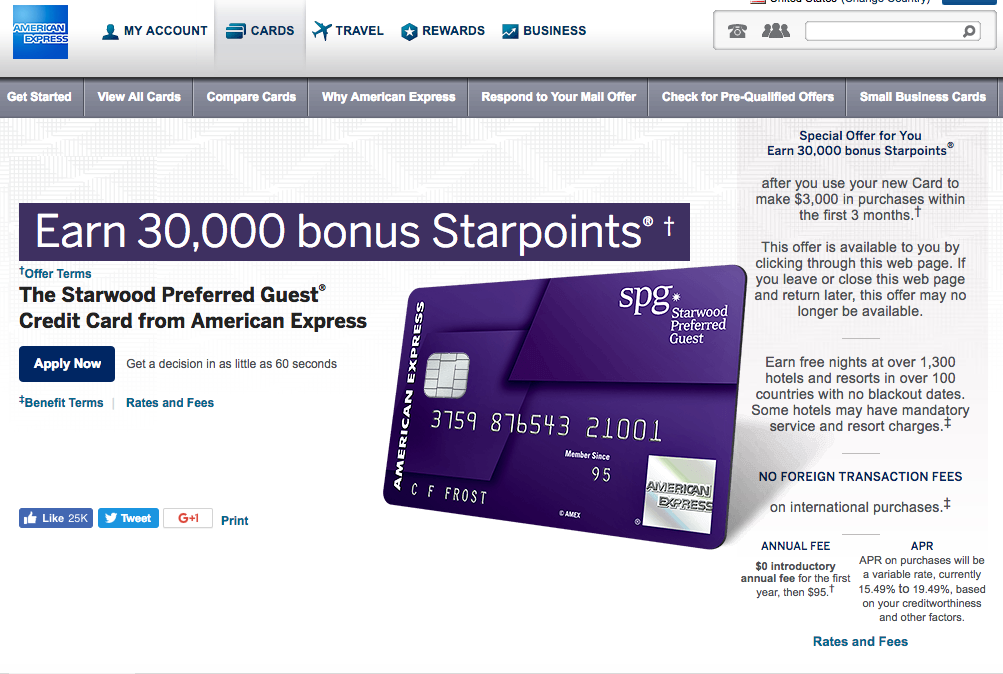 30K SPG AMEX Bonus Offer