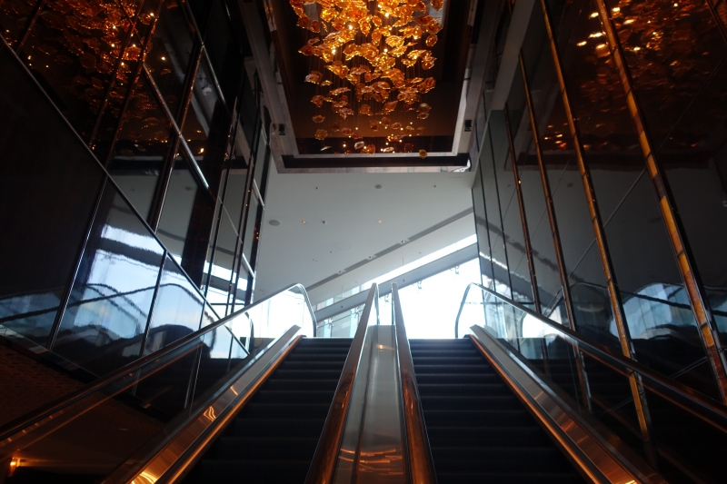 Escalator to Ritz-Carlton Hong Kong 9th Floor Arrival Lobby