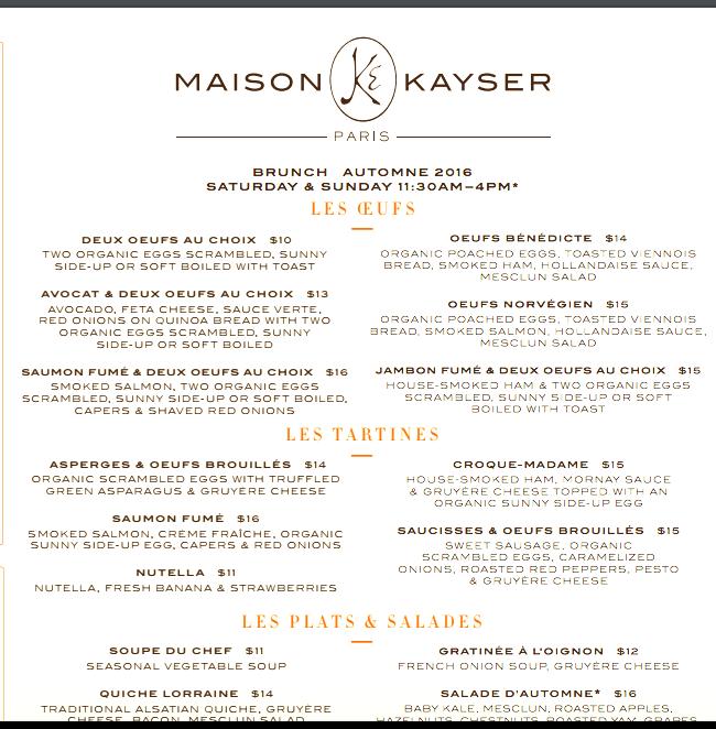 Maison Kayser NYC Brunch Menu
