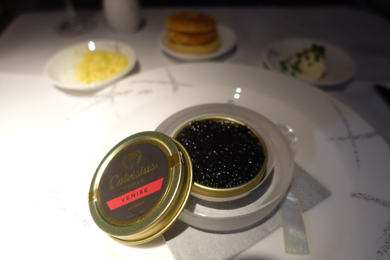 Calvisius Caviar, Cathay Pacific First Class Review