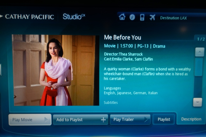 Me Before You, Studio CX, Cathay Pacific Review