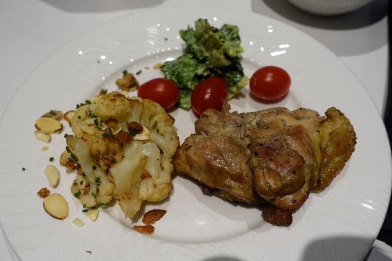 Grilled Chicken, Roasted Cauliflower and Salad, AMEX Centurion Lounge SFO Review