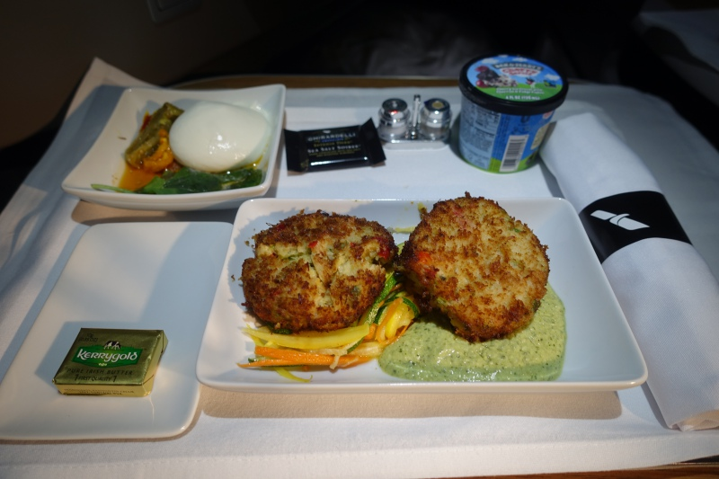 Dinner, American First Class A321 Review Red Eye Flight SFO-NYC