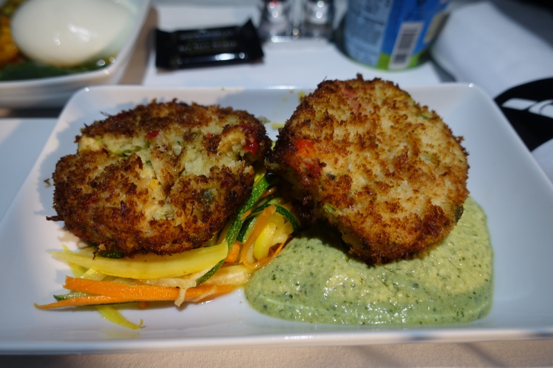 Seared Crab Cakes, American First Class A321 Review