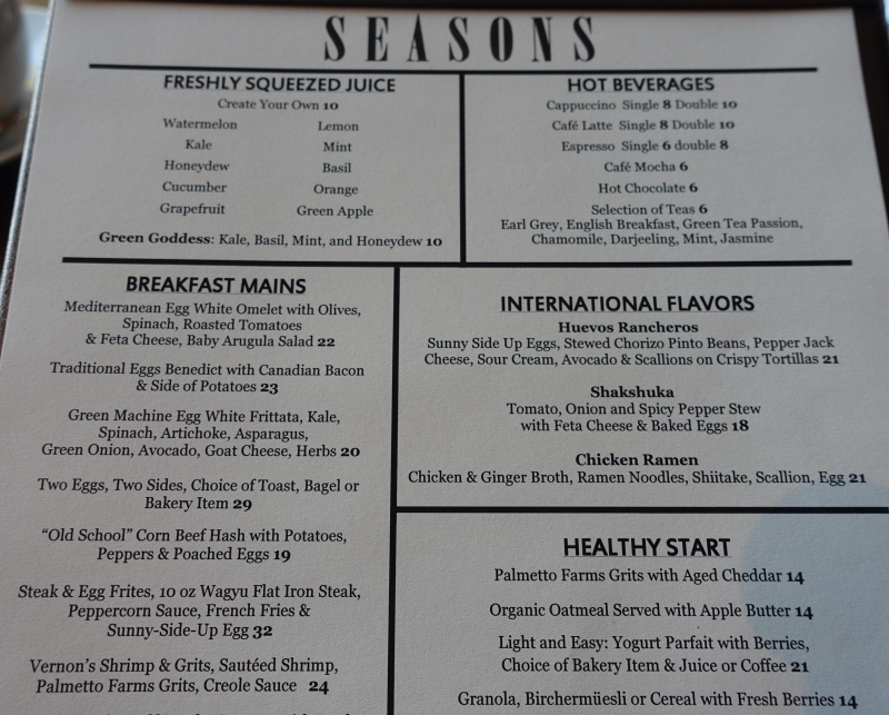 Seasons Breakfast Menu, Four Seasons Washington DC