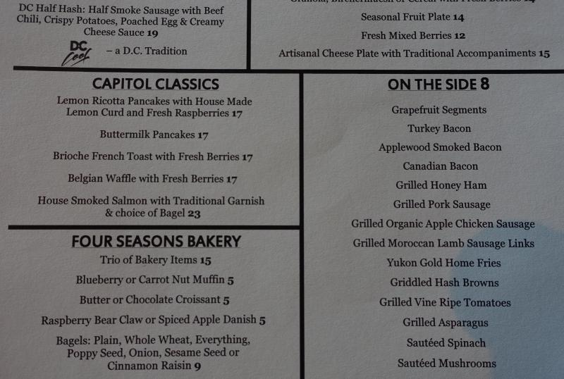 Seasons Breakfast Menu, Four Seasons DC Review