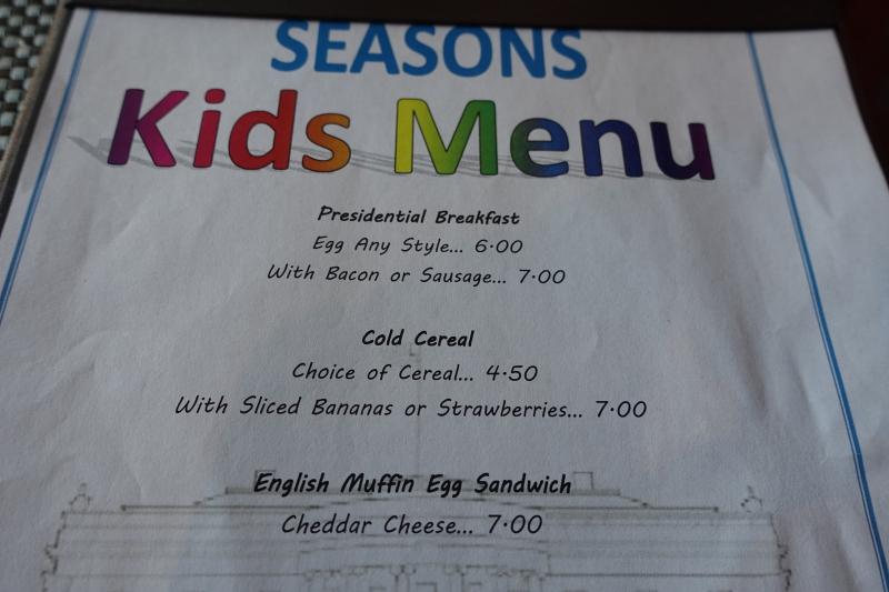 Kids' Menu at Seasons, Four Seasons Washington DC Review