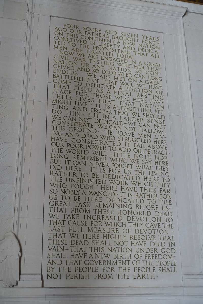 Gettysburg Address, Lincoln Memorial, Washington, DC