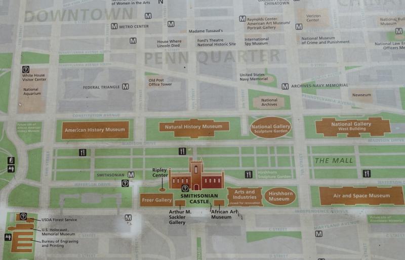 Map of Smithsonian Museums, Washington, DC