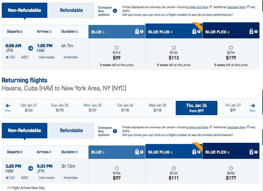 JetBlue 20% Off Flights to Cuba