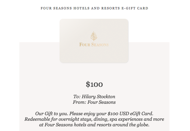 Four Seasons $100 Bonus Gift Card