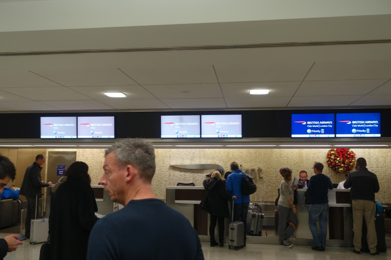 British Airways: Line at First Class Check-In, JFK