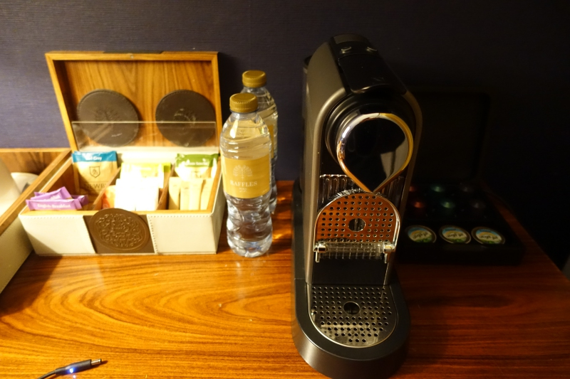 Nespresso Machine and Bottled Water, Raffles Dubai Review