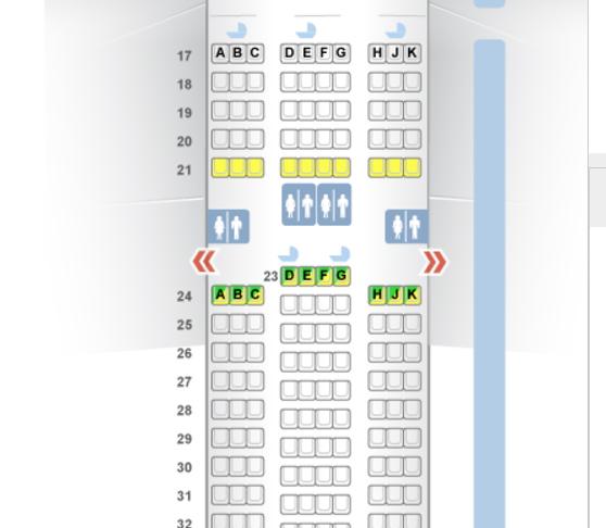 Emirates Economy Class Seat Map, 777-300