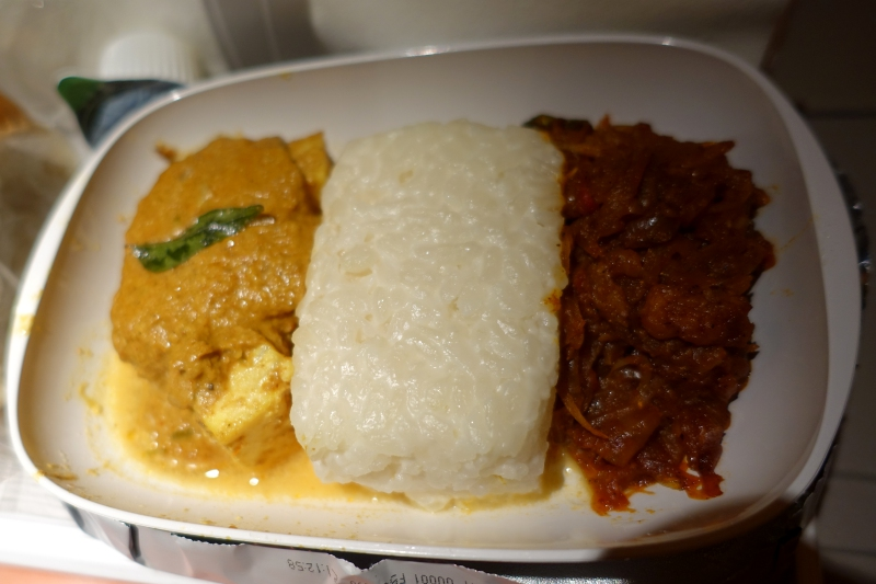 Emirates Economy Class: Fish Curry with Coconut Rice and Spicy Sambal