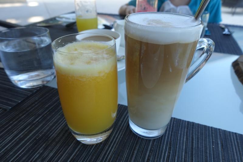Pineapple-Orange Juice and Latte, Park Hyatt Maldives Review