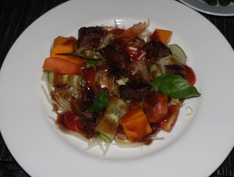 Grilled Beef Salad, Park Hyatt Maldives Dinner Review
