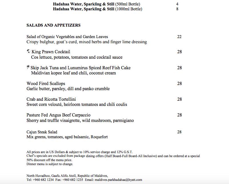 Island Grill Menu-Appetizers-Park Hyatt Maldives