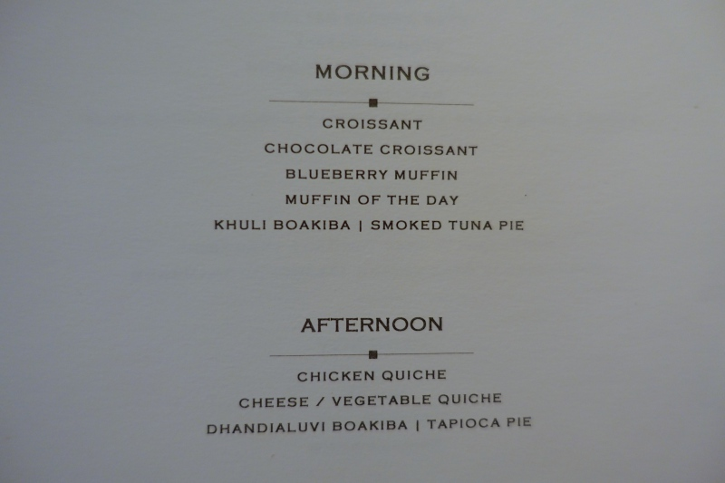 Menu, Cheval Blanc Randheli Lounge