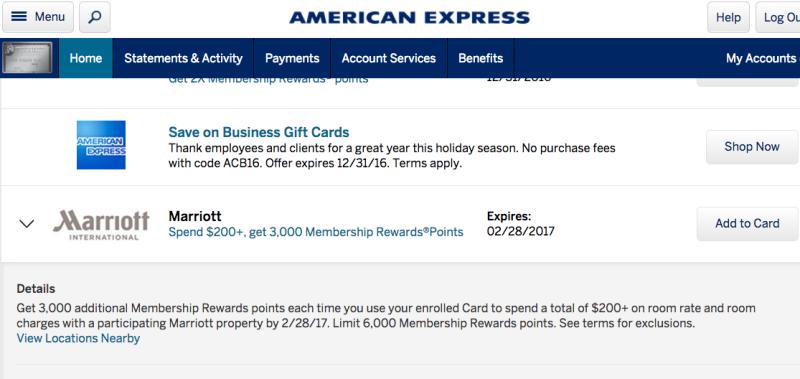 3000 AMEX Membership Rewards Points After $200 Marriott Spend