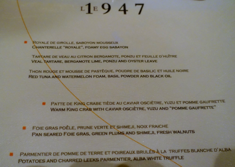 Le 1947 Menu, Cheval Blanc Randheli Review