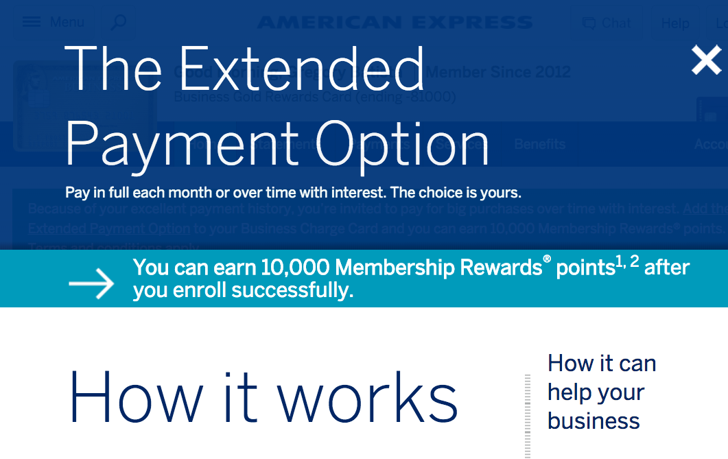 10K AMEX Bonus Points to Enroll in Extended Payment Option