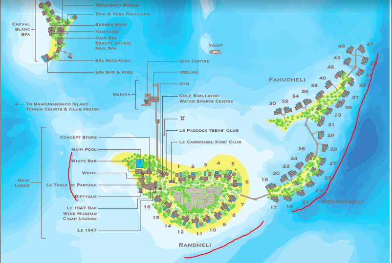 Cheval Blanc Randheli Map of Villas and Good Snorkeling Areas