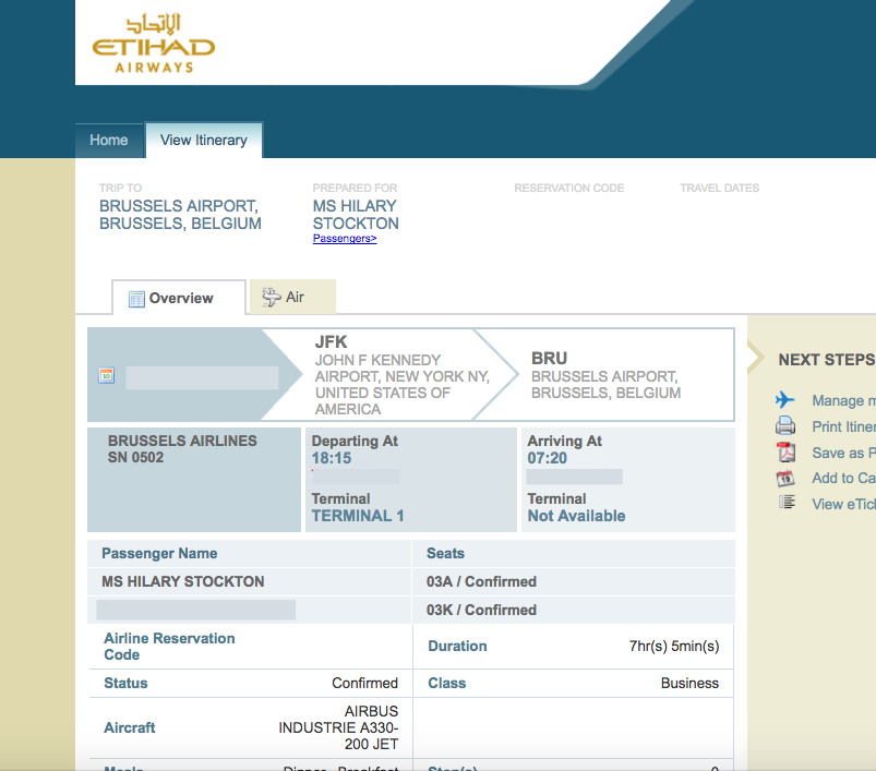 Brussels Airlines Business Class Booked with Etihad Guest Miles