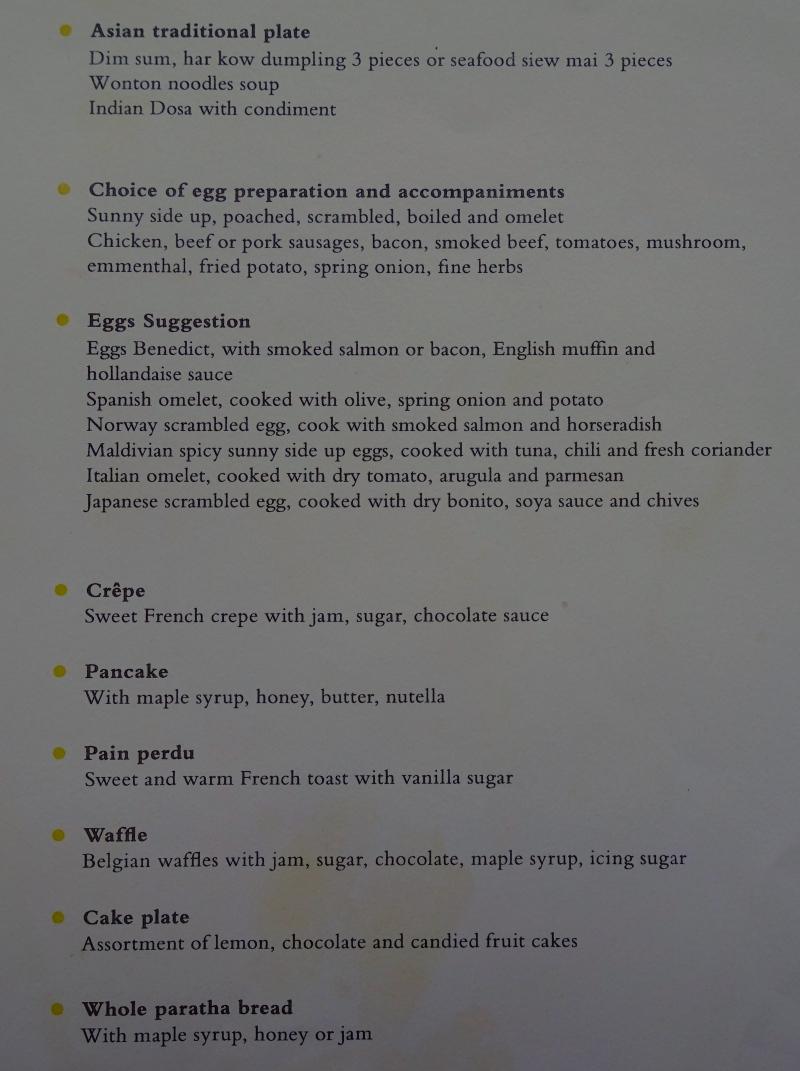 Cheval Blanc Randheli Breakfast Menu