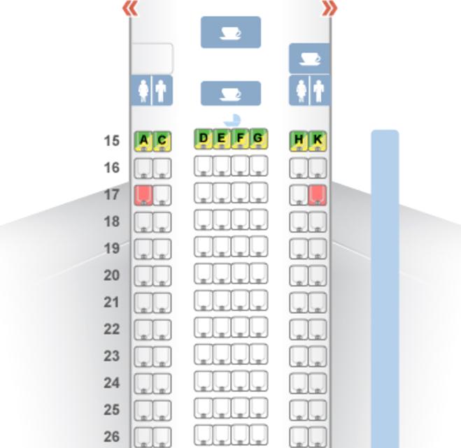 Etihad Economy Class Seat Map A330-200