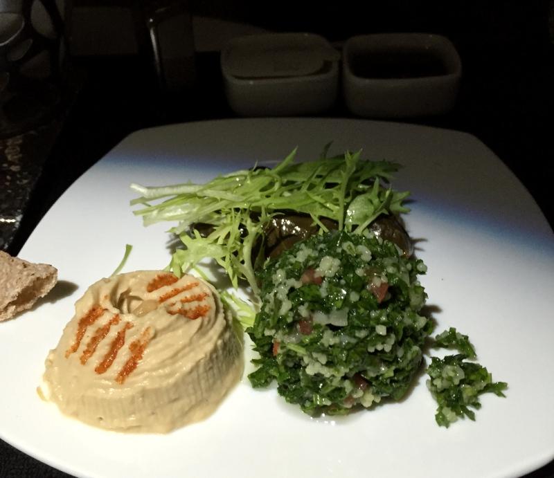Etihad Business Class Review: Arabic Mezze Appetizers