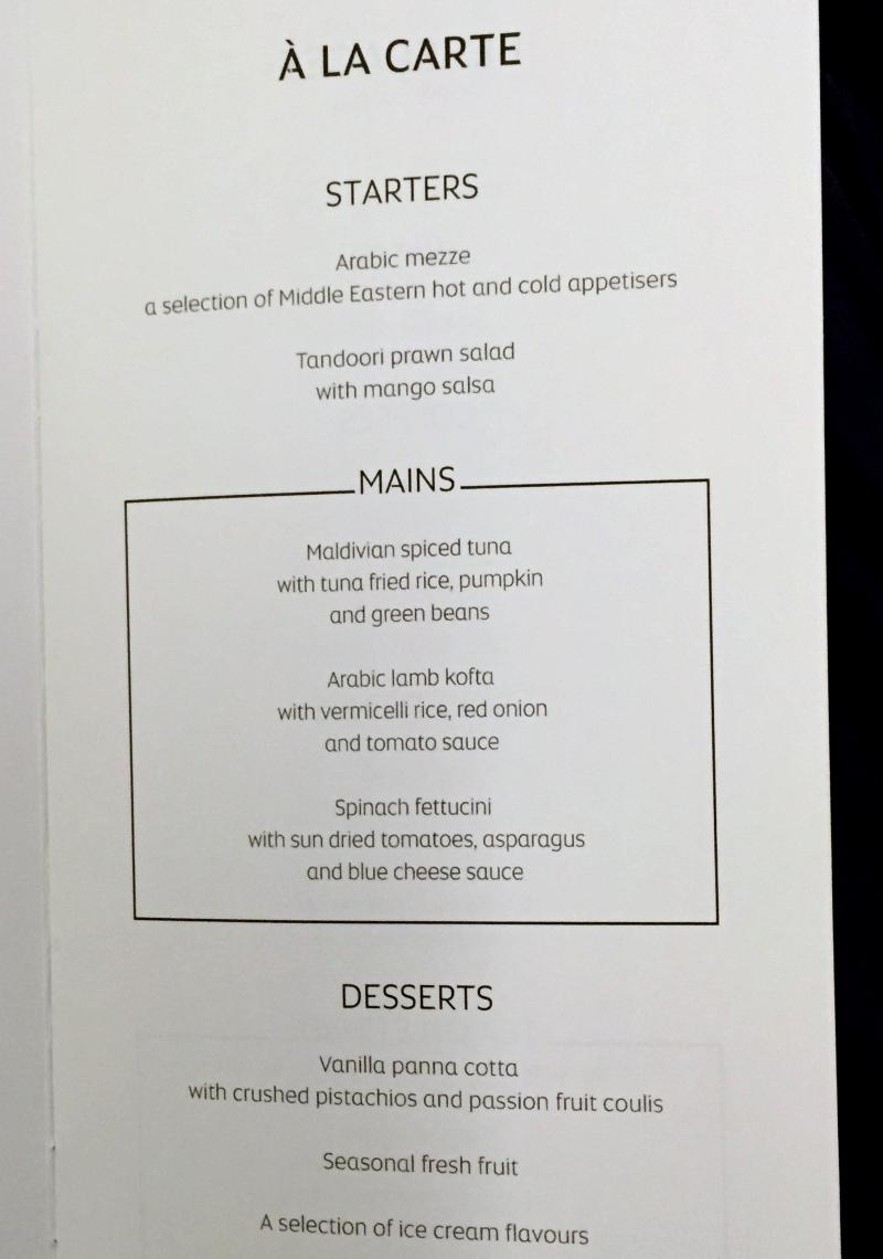 Etihad Business Class Dinner Menu, Male to Abu Dhabi