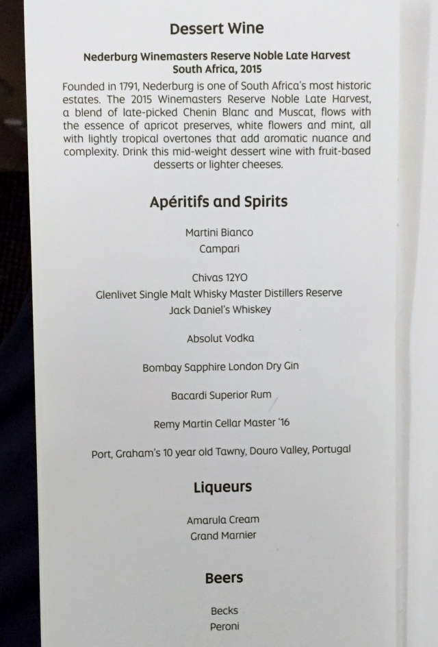 Etihad Business Class Spirits and Beers