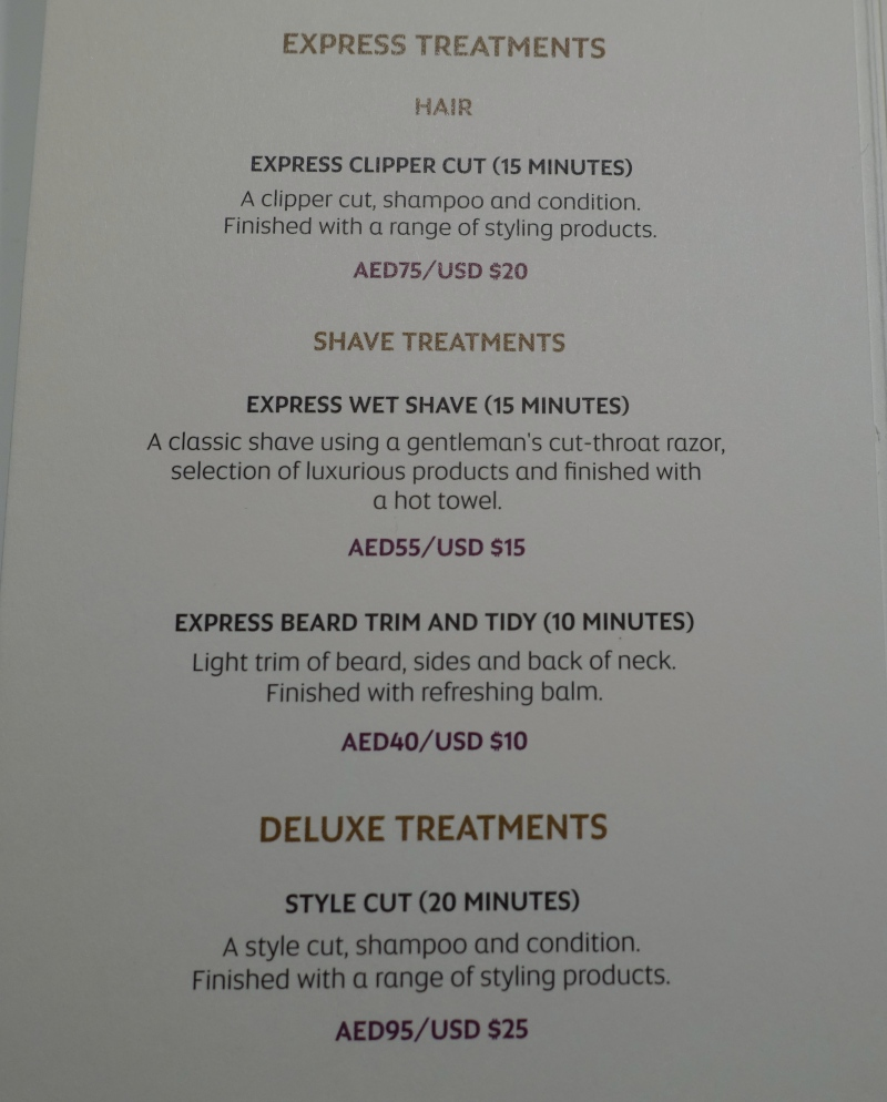 Etihad Express Salon Treatment Menu