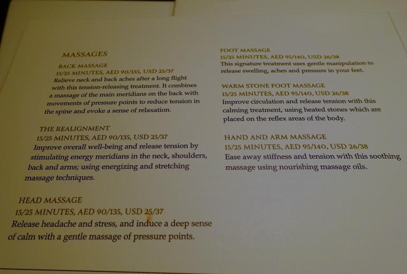 Massage Menu, Six Senses Spa, Etihad First Class Lounge AUH Review