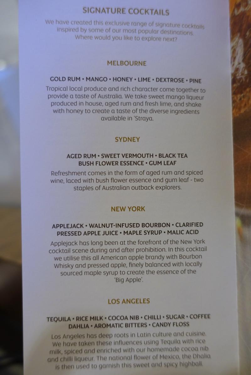 Signature Cocktail Menu, Etihad First Class Lounge Abu Dhabi