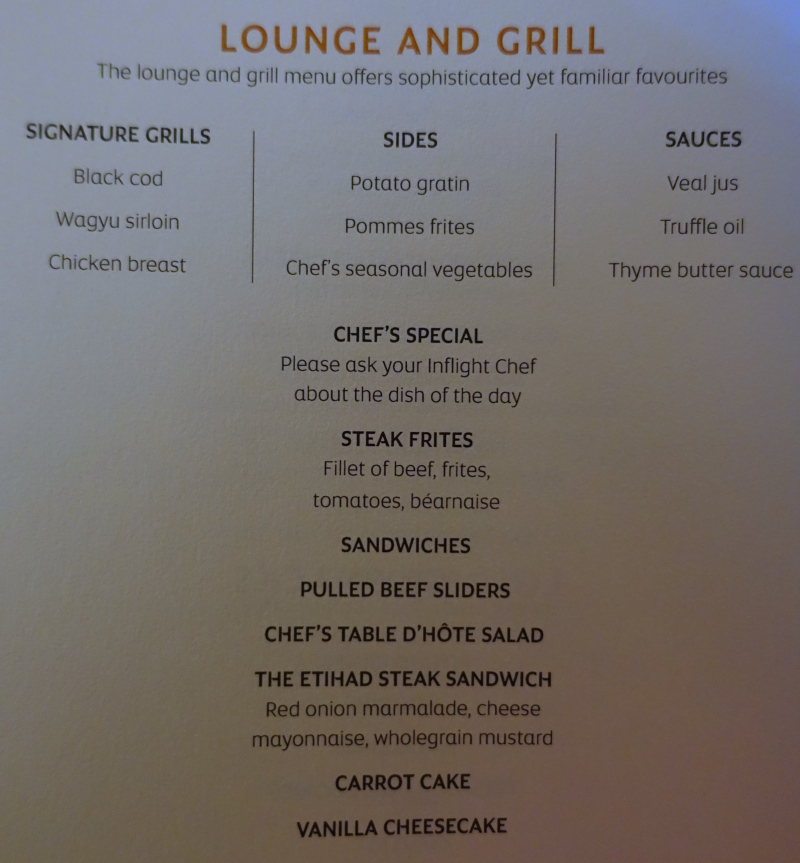 Etihad First Class Lounge and Grill Menu