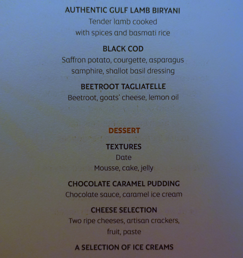 Etihad First Class Menu-Grilled Items