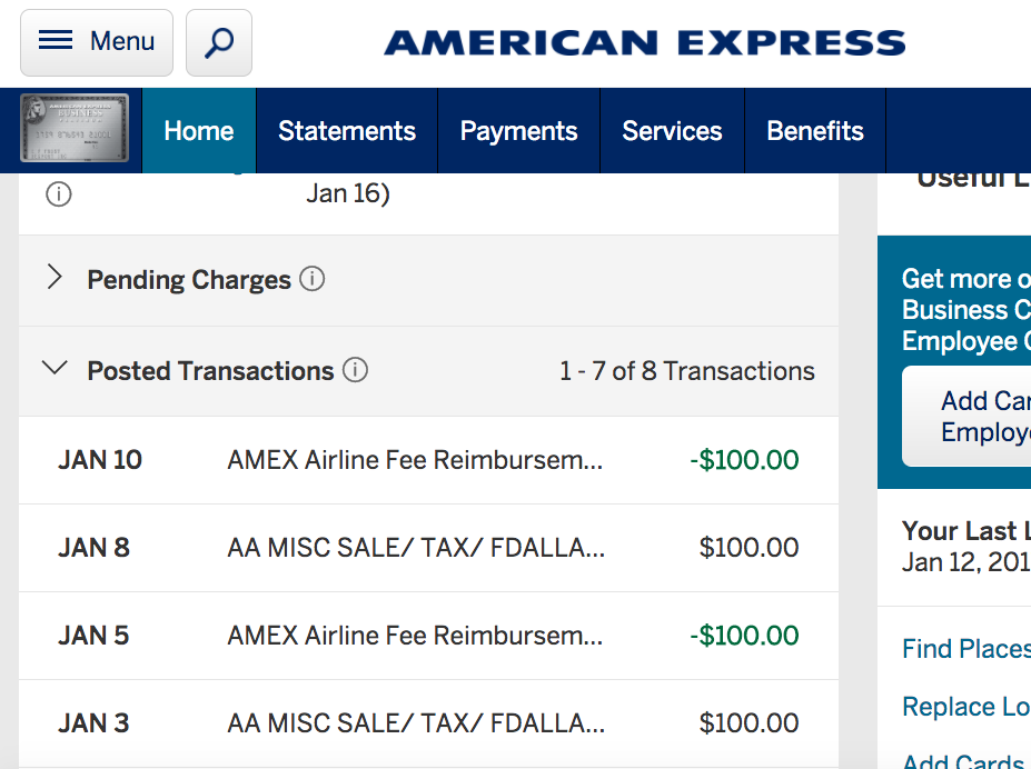 2017 AMEX Airline Fee Credits Have Posted