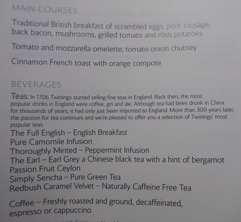 British Airways First Class Breakfast Menu New York to London