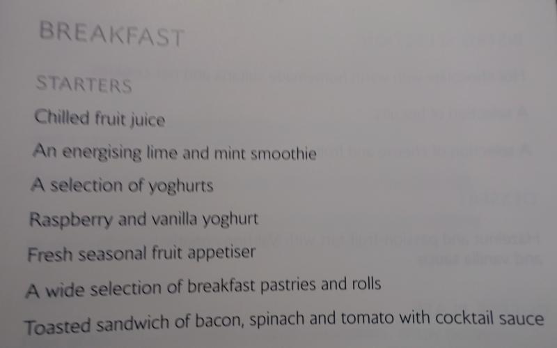 British Airways First Class Breakfast Menu
