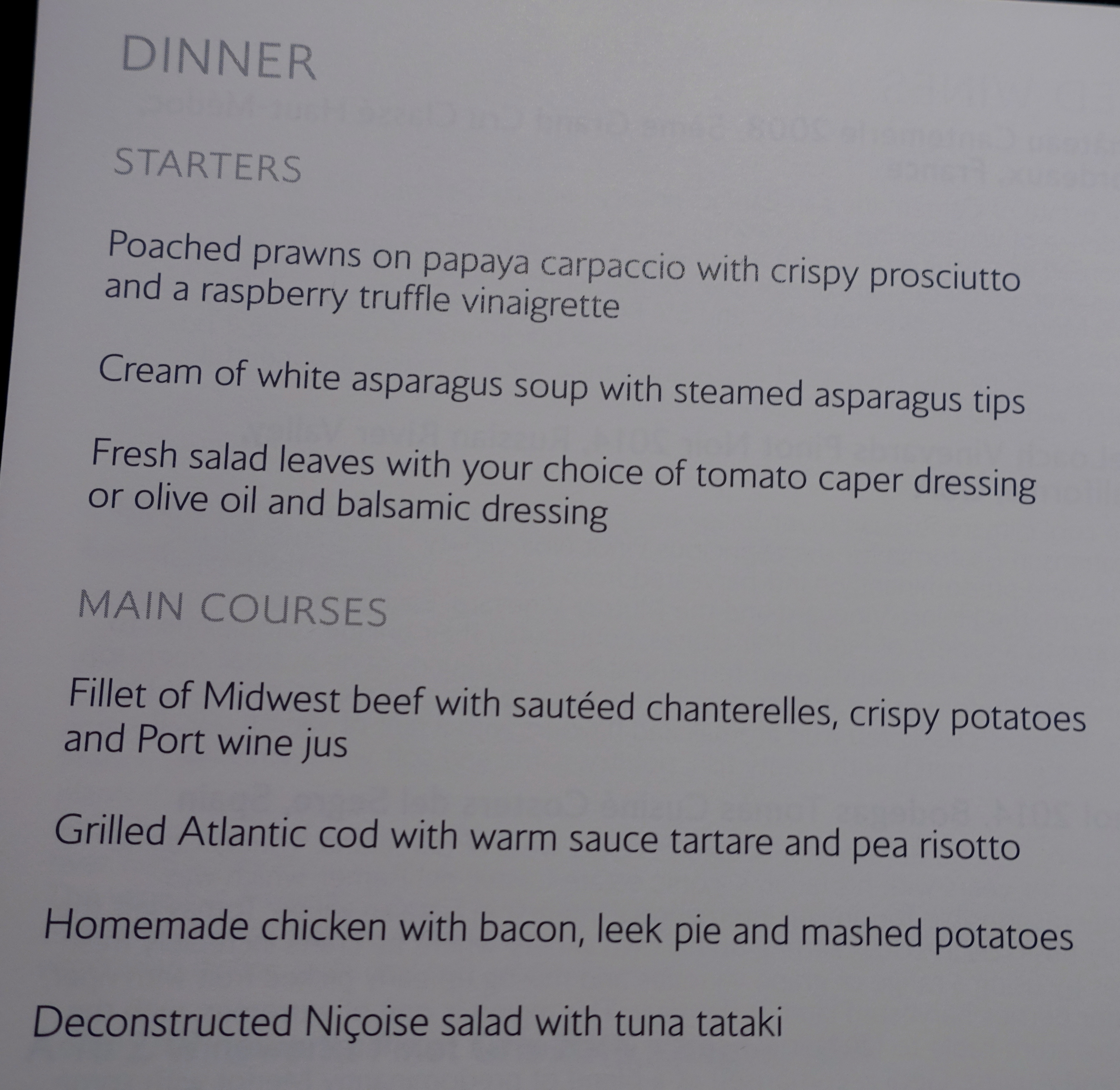 British Airways First Class Dinner Menu, New York to London