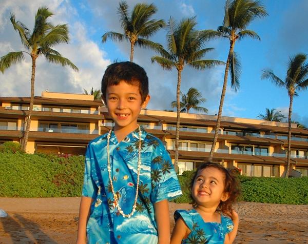 Kids on the beach in Honolulu, Hawaii