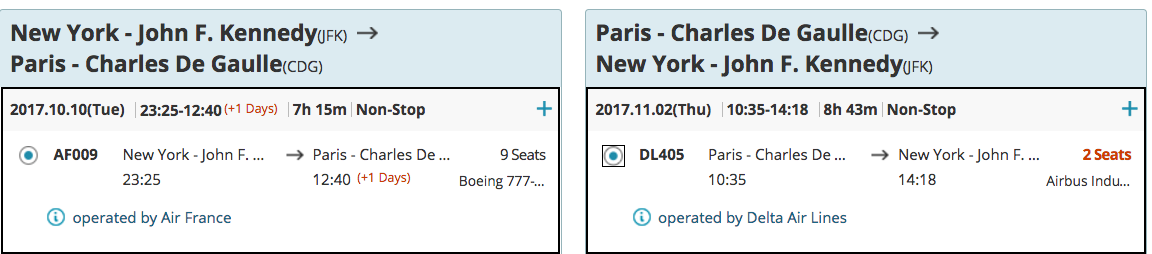 Air France Business Class Award with SkyPass Miles